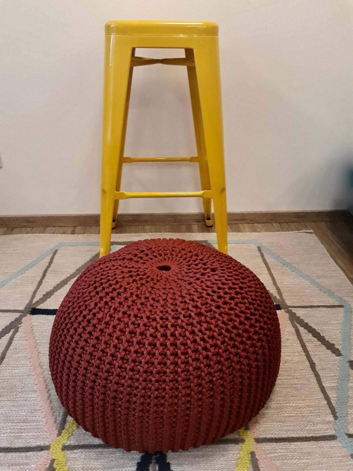 Hand knitted pouf / crochet pouf / ottoman / floor pillow /bean bag
