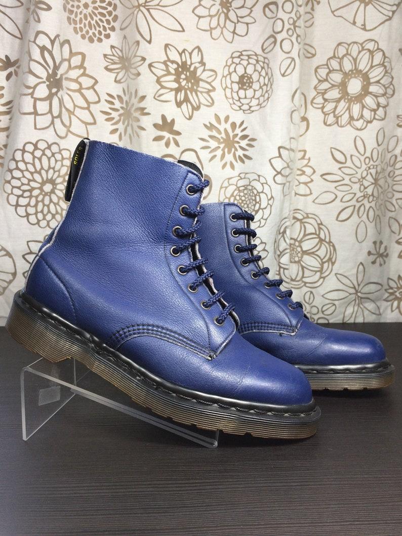 Vintage Dr. Martens Vegetarian Shoes Faux Leather Blue Boots UK 7