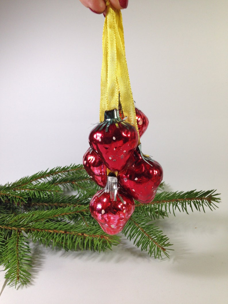 Christmas Glass Ornaments 5 Strawberrys Vintage Russian USSR Christmas tree Decorations Ornaments