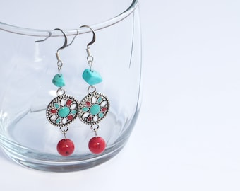 Southwestern turquoise pendant and stone handmade dangle earrings