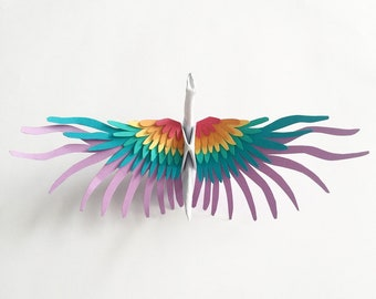 Rainbow Origami Paper Crane with Handcut Feather Wings