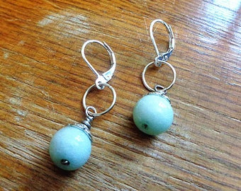 Green Jade Earrings Round smooth dangle drop Sterling Silver Light green simple single drops, Light green Jade Earrings Jade Silver drop
