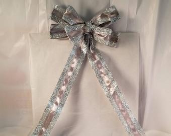 Silver Glitter Bow (small, 1)