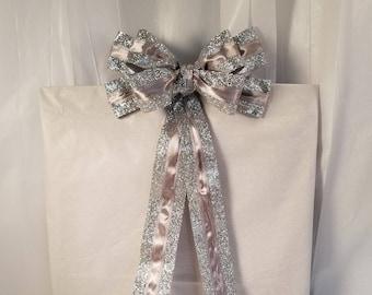 Silver Glitter Bow (small, 2)