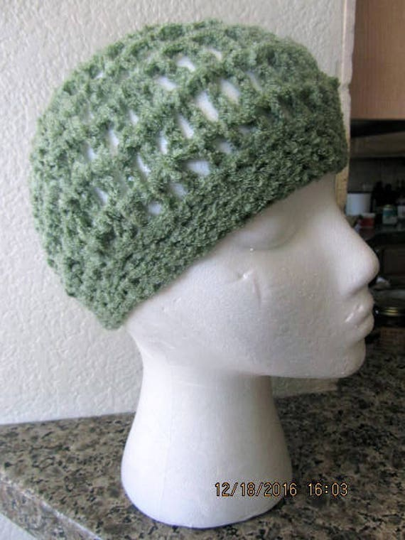Vintage hand knit beanie hat cap green one size cr