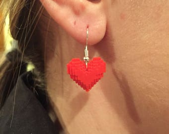 8 Bit Pixel Heart Earrings