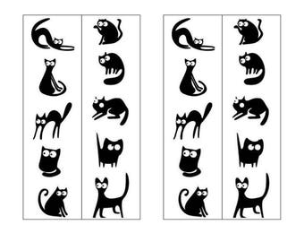 printable original black white two sided bookmark mischievous black cats on white snow silhouette bookmark instant digital download