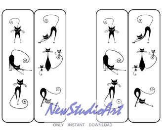 printable original black white two sided bookmarks black silhouettes of cats on white snow silhouette bookmark instant digital download