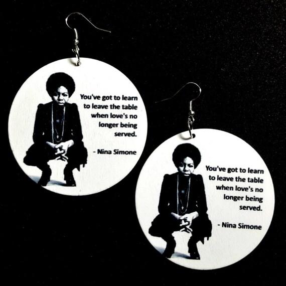 Nina Simone New Dawn New Day Statement Dangle Wood Earrings