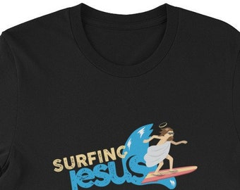 7652a80c Surfing Jesus Shirt: Funny Christmas Gifts for Surfers | Sunday Shirt | Funny  Jesus Beach Life