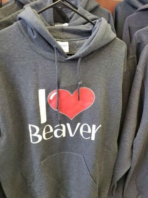 I Love Heart Beavers Kids Hoodie Sweatshirt