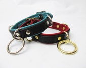 Leather Double-D & Drop-Ring Collar in Multiple Colors