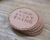 Custom Phrase Leather Coaster Set
