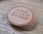 Custom Phrase Leather Coaster Set