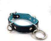 Leather Double-D & Drop-Ring Collar - Aqua Blue