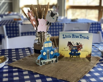 Little Blue Truck birthday party package with PNG & SVG files for decorations, party hats, thank you cards, place settings, cake toppers etc