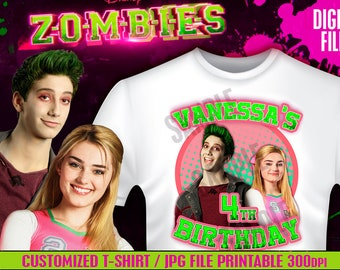 Design for T-shirt ZOMBIES Disney For you party - CUSTUMIZABLE - Iron on Transfer - Disney Zombies party We deliver in less than 4 hours!