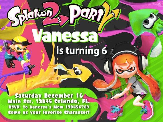 splatoon party invitation birthday party splatoon we etsy