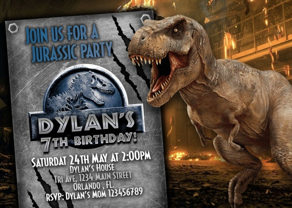 Jurassic World 2 Invitation Birthday Party Park