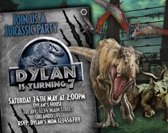 jurassic World 2 Invitation Birthday party - Jurassic Park Party Blue party invitation for kids - Jurassic World