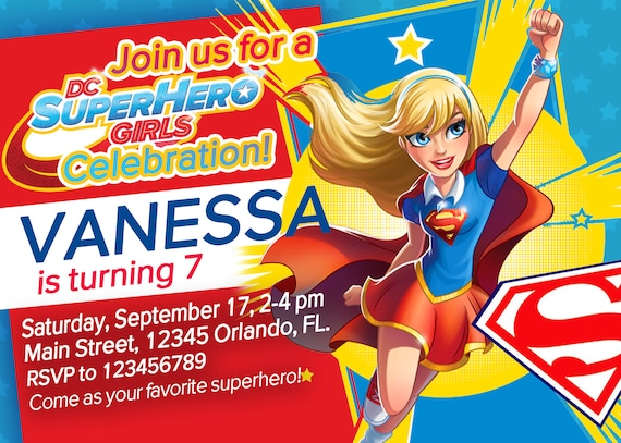 Dc Superhero Girls Party Invitation Birthday Party Superhero Etsy