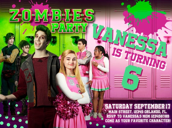 Zombies party invitation birthday party disney zombies we etsy image 0 stopboris Gallery