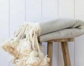 Beautiful Throw blanket, Pom pom throw blanket,bedroom blanket,Blankets and Throws,bed spread,bedding,tassel throw blanket,woven blanket