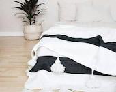 Moroccan Pompom Blanket,Moroccan Blanket,Moroccan Throw Blanket, Pom Poms, Boho Blanket, Bed Cover White with Black Stripe