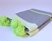 Moroccan Cotton Pompom Blanket, Pom Poms, Boho Blanket, Bed Cover with Gray and Lime Stripes
