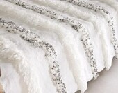 Moroccan Wedding Blanket Handira White with Metal Sequins, Handmade and High Quality