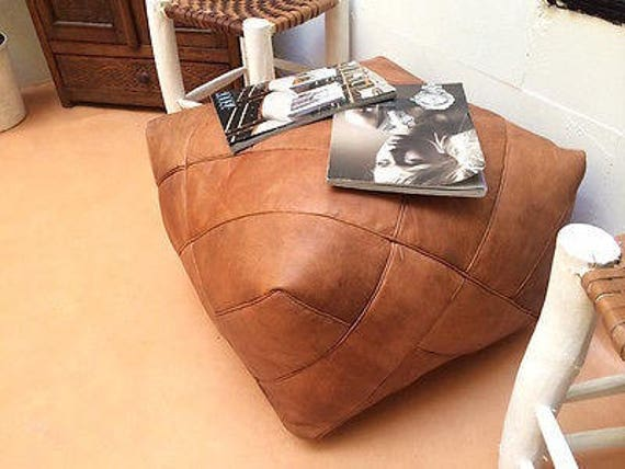Moroccan Square Leather Pouf Ottoman Natural Brown Leather Etsy