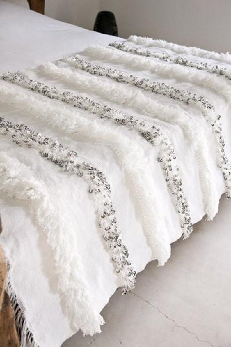 Moroccan Wedding Blanket.Moroccan Wedding Blanket Handira White With Metal Sequins Handmade And High Quality