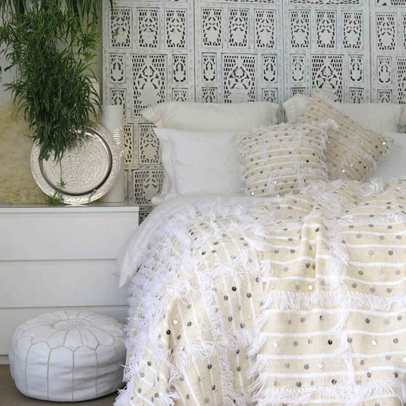 2 Pillows BEST QUALITY GUARANTEED Handmade Moroccan Wedding Handira Blanket with Metal Sequins