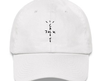 b57b8e5280 Travis Scott Cactus Jack Embroidered Dad Hat Strap Back White Khaki Stone  Pink