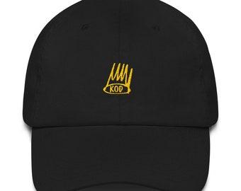 4247d823d7b KOD J Cole Strap Back Dad hat Black Gold Crown Kids on Drugs