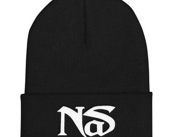 061f0487e47 NS Nas Embroidered Cuffed Beanie Black Navy Grey Hip Hop 90s Rap