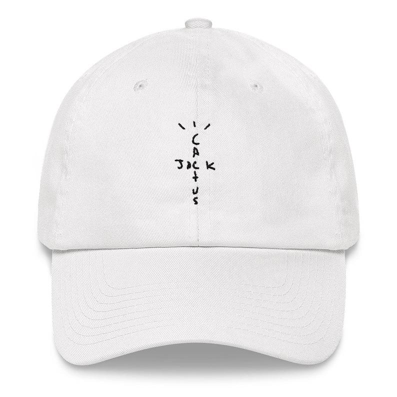 f746afafbb Travis Scott Cactus Jack Embroidered Dad Hat Strap Back White