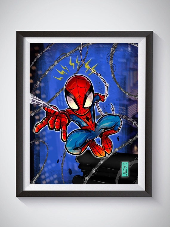 Spiderman Kids Poster Into The Spider Verse Chibi Marvel Wall Etsy