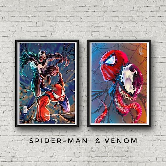 Venom Vs Spiderman Marvel Large Poster Art Print in multiple sizes