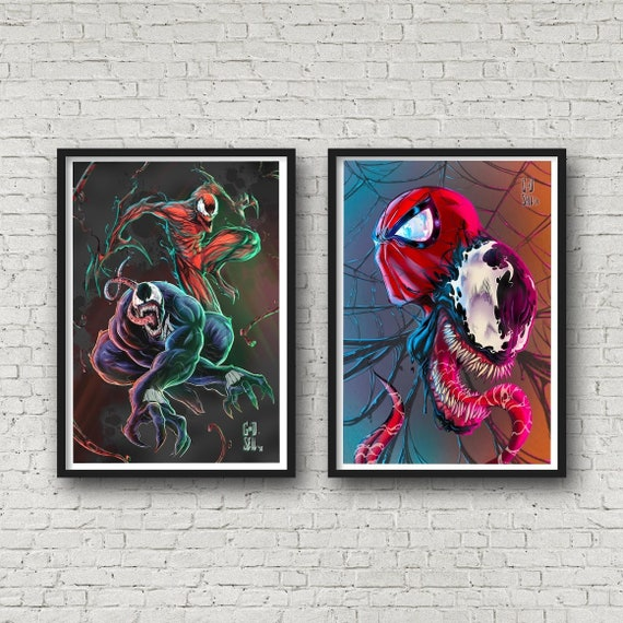 Venom Carnage And Spider Man Two Poster Set Marvel Wall Art Etsy