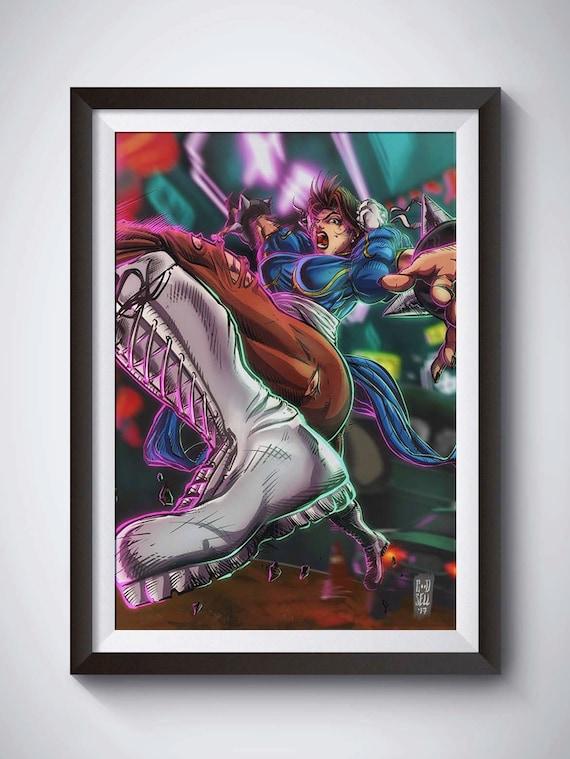 Chun Li Wall Art Poster Print Street Fighter Anime Gift Video Etsy