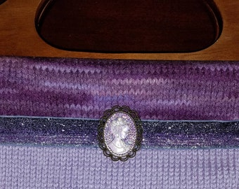 Knitted Purse Purple Cameo