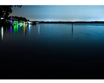 Fine Art Landscape Photography - The Sky Bleeds Orange & Blue, Nature Photography, Sunrise, St Petersburg, Florida, Prints, Canvas