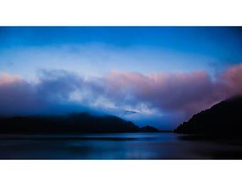 Fine Art Landscape Photography - Lake Nantahala Fog, nature photography, mountains, clouds, lake, prints, canvas