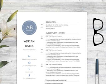 "Resume Template and Cover Letter for Word | DIY Printable 2 Pages | The ""Adrian Bates"" 