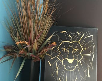 Lion; Canvas; Gold; Black; Geometric