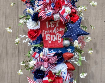 July 4th Holiday Wreath Swag Grapevine Independence Day