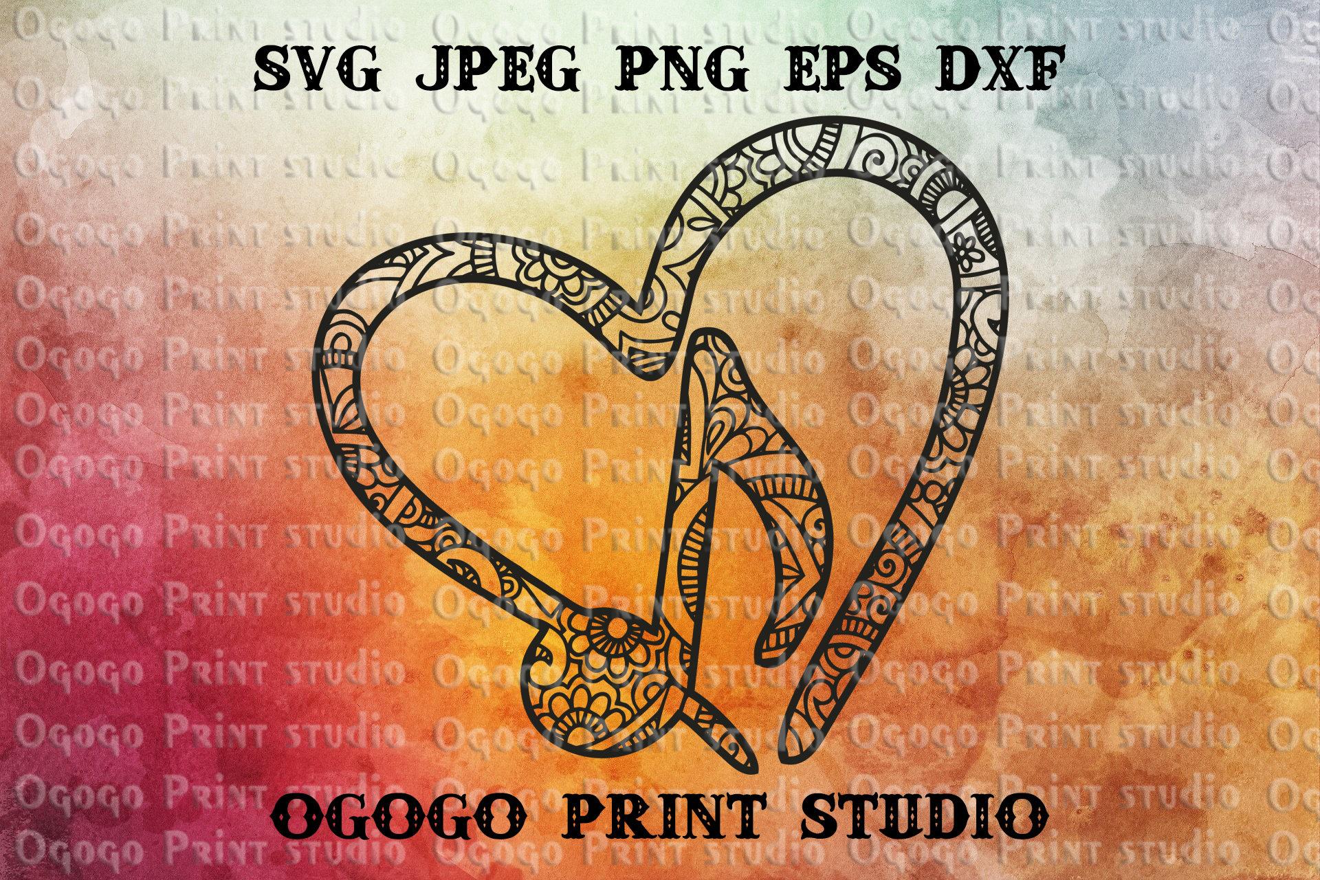 Mandala style Music Svg Zentangle SVG Heart SVG Paper cut