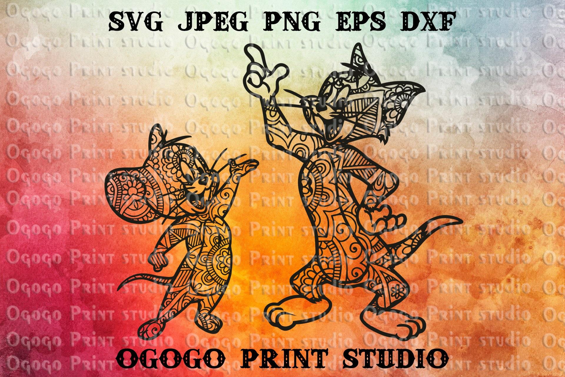 Mandala style Tom & Jerry SVG Zentangle SVG Doodle Art CNC