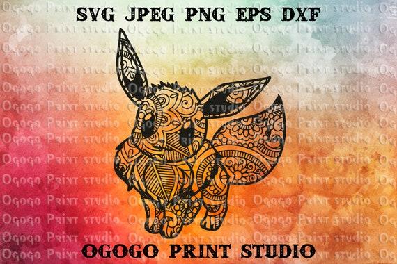 Eevee Svg Pokemon Mandala Svg Anime Zentangle Svg Paper